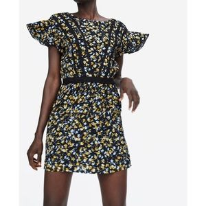 Zara Black and Yellow Floral Dress